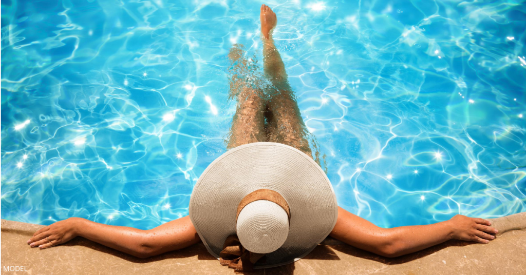 A woman enjoying summer after getting treatments at CaloSpa Rejuvenation Center.